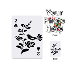 Birds Flower Rose Black Animals Playing Cards 54 (mini)  by Mariart