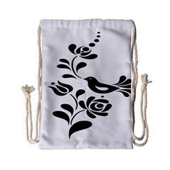 Birds Flower Rose Black Animals Drawstring Bag (small) by Mariart