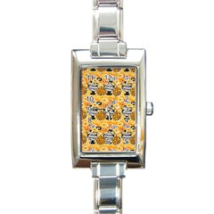 Amfora Leaf Yellow Flower Rectangle Italian Charm Watch by Mariart