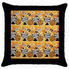 Amfora Leaf Yellow Flower Throw Pillow Case (black) by Mariart