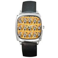 Amfora Leaf Yellow Flower Square Metal Watch by Mariart