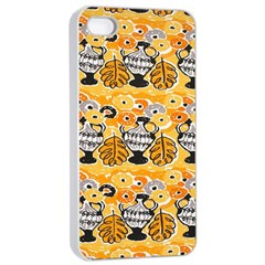 Amfora Leaf Yellow Flower Apple Iphone 4/4s Seamless Case (white) by Mariart