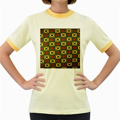 African Textiles Patterns Women s Fitted Ringer T Shirts by Mariart