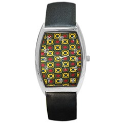 African Textiles Patterns Barrel Style Metal Watch by Mariart