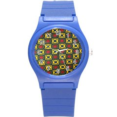 African Textiles Patterns Round Plastic Sport Watch (s) by Mariart