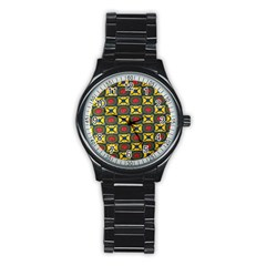 African Textiles Patterns Stainless Steel Round Watch