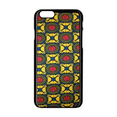 African Textiles Patterns Apple Iphone 6/6s Black Enamel Case by Mariart