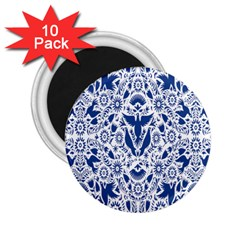 Birds Fish Flowers Floral Star Blue White Sexy Animals Beauty 2 25  Magnets (10 Pack)  by Mariart