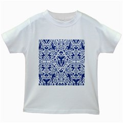 Birds Fish Flowers Floral Star Blue White Sexy Animals Beauty Kids White T Shirts by Mariart
