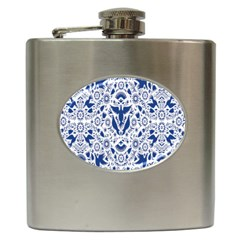Birds Fish Flowers Floral Star Blue White Sexy Animals Beauty Hip Flask (6 Oz) by Mariart