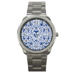 Birds Fish Flowers Floral Star Blue White Sexy Animals Beauty Sport Metal Watch by Mariart