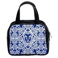 Birds Fish Flowers Floral Star Blue White Sexy Animals Beauty Classic Handbags (2 Sides) by Mariart