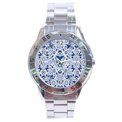 Birds Fish Flowers Floral Star Blue White Sexy Animals Beauty Stainless Steel Analogue Watch