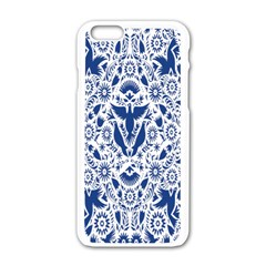 Birds Fish Flowers Floral Star Blue White Sexy Animals Beauty Apple Iphone 6/6s White Enamel Case