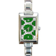 Bottna Fabric Leaf Green Rectangle Italian Charm Watch by Mariart