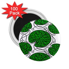 Bottna Fabric Leaf Green 2 25  Magnets (100 Pack)  by Mariart