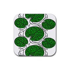 Bottna Fabric Leaf Green Rubber Square Coaster (4 Pack)  by Mariart