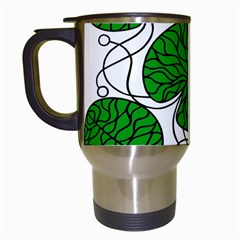 Bottna Fabric Leaf Green Travel Mugs (white) by Mariart