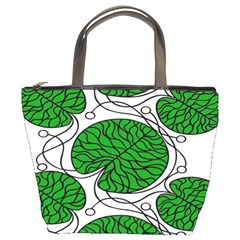 Bottna Fabric Leaf Green Bucket Bags by Mariart