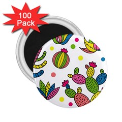 Cactus Seamless Pattern Background Polka Wave Rainbow 2 25  Magnets (100 Pack)