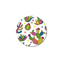 Cactus Seamless Pattern Background Polka Wave Rainbow Golf Ball Marker