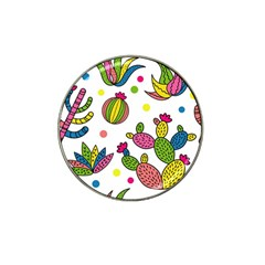 Cactus Seamless Pattern Background Polka Wave Rainbow Hat Clip Ball Marker by Mariart