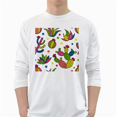 Cactus Seamless Pattern Background Polka Wave Rainbow White Long Sleeve T Shirts by Mariart
