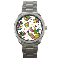 Cactus Seamless Pattern Background Polka Wave Rainbow Sport Metal Watch