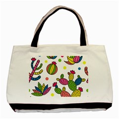 Cactus Seamless Pattern Background Polka Wave Rainbow Basic Tote Bag by Mariart