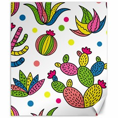 Cactus Seamless Pattern Background Polka Wave Rainbow Canvas 20  X 24   by Mariart