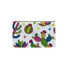 Cactus Seamless Pattern Background Polka Wave Rainbow Cosmetic Bag (small)  by Mariart