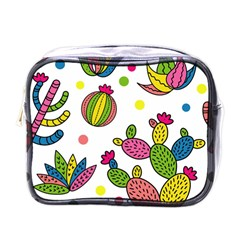 Cactus Seamless Pattern Background Polka Wave Rainbow Mini Toiletries Bags by Mariart