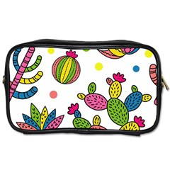 Cactus Seamless Pattern Background Polka Wave Rainbow Toiletries Bags 2 Side by Mariart