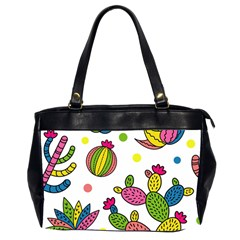 Cactus Seamless Pattern Background Polka Wave Rainbow Office Handbags (2 Sides)  by Mariart