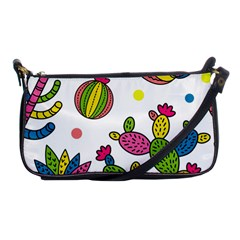 Cactus Seamless Pattern Background Polka Wave Rainbow Shoulder Clutch Bags by Mariart
