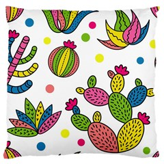 Cactus Seamless Pattern Background Polka Wave Rainbow Large Cushion Case (one Side) by Mariart