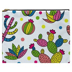 Cactus Seamless Pattern Background Polka Wave Rainbow Cosmetic Bag (xxxl)  by Mariart