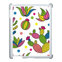 Cactus Seamless Pattern Background Polka Wave Rainbow Apple Ipad 3/4 Case (white) by Mariart
