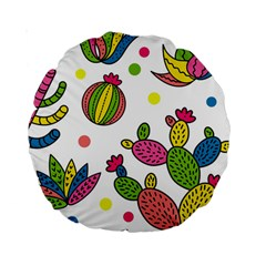 Cactus Seamless Pattern Background Polka Wave Rainbow Standard 15  Premium Round Cushions by Mariart