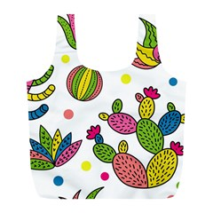 Cactus Seamless Pattern Background Polka Wave Rainbow Full Print Recycle Bags (l)  by Mariart