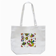 Cactus Seamless Pattern Background Polka Wave Rainbow Tote Bag (white) by Mariart