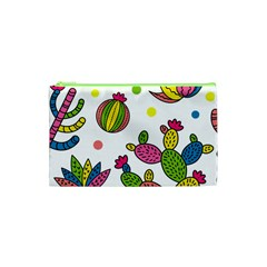 Cactus Seamless Pattern Background Polka Wave Rainbow Cosmetic Bag (xs) by Mariart
