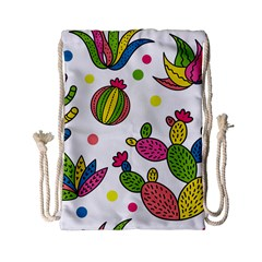 Cactus Seamless Pattern Background Polka Wave Rainbow Drawstring Bag (small) by Mariart