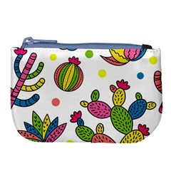 Cactus Seamless Pattern Background Polka Wave Rainbow Large Coin Purse by Mariart