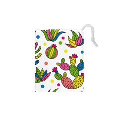 Cactus Seamless Pattern Background Polka Wave Rainbow Drawstring Pouches (xs)  by Mariart