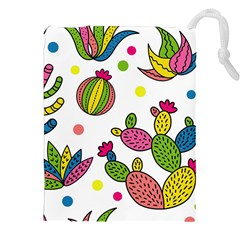 Cactus Seamless Pattern Background Polka Wave Rainbow Drawstring Pouches (xxl) by Mariart