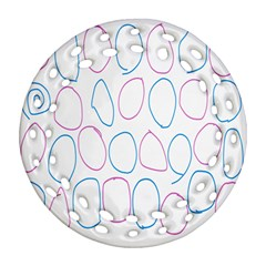 Circles Featured Pink Blue Ornament (round Filigree) by Mariart