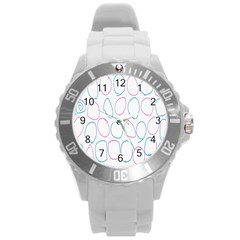 Circles Featured Pink Blue Round Plastic Sport Watch (l) by Mariart