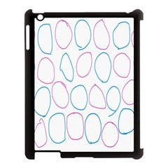 Circles Featured Pink Blue Apple Ipad 3/4 Case (black) by Mariart