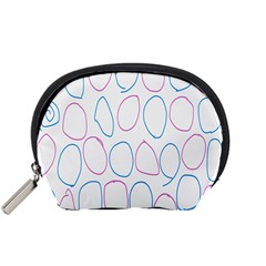 Circles Featured Pink Blue Accessory Pouches (small)  by Mariart